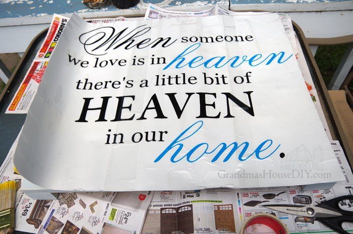 When Someone We Love Is in Heaven Theres a Bit of Heaven in Our Home - wall decal made of wood, distressed paint, twine and sanding, easy heaven sign DIY