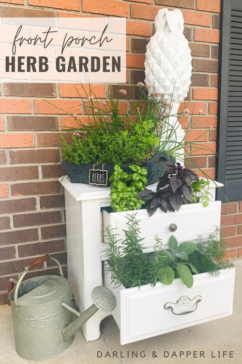 Allison from Darling and Dapper Life - Outdoor Herb Garden Chest of Drawers