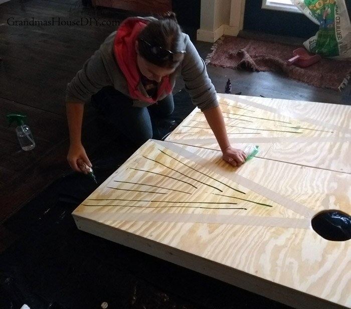 How to build cornhole boards with 2x4s and plywood, bags, games, yard games, use unicorn spit, dragon's belly, pixie punk pink and blue thunder stain