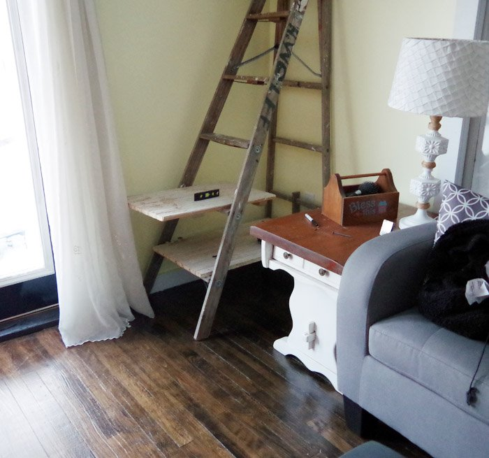Turning one of my Grandpa's old ladders in a ladder blanket rack and shelf for storage in my newly painted and refreshed living room