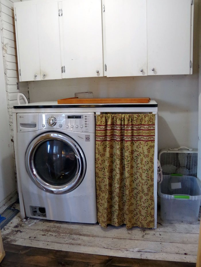A Plan of Attack: My Laundry Room Remodel - Covering Major Ugly! How to disguise some major problems while still adding joy and beauty to a small space