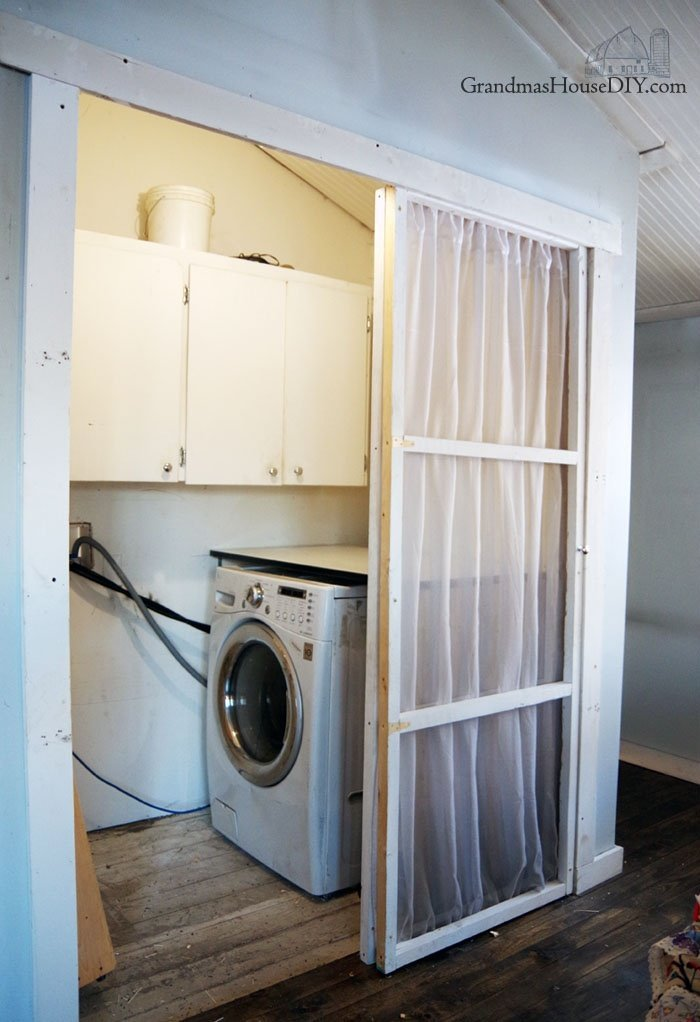Rarranging my awkward laundry closet into a real room by moving my washer dryer. Turning my hinged closet doors into rolling doors, diy, do it yourself