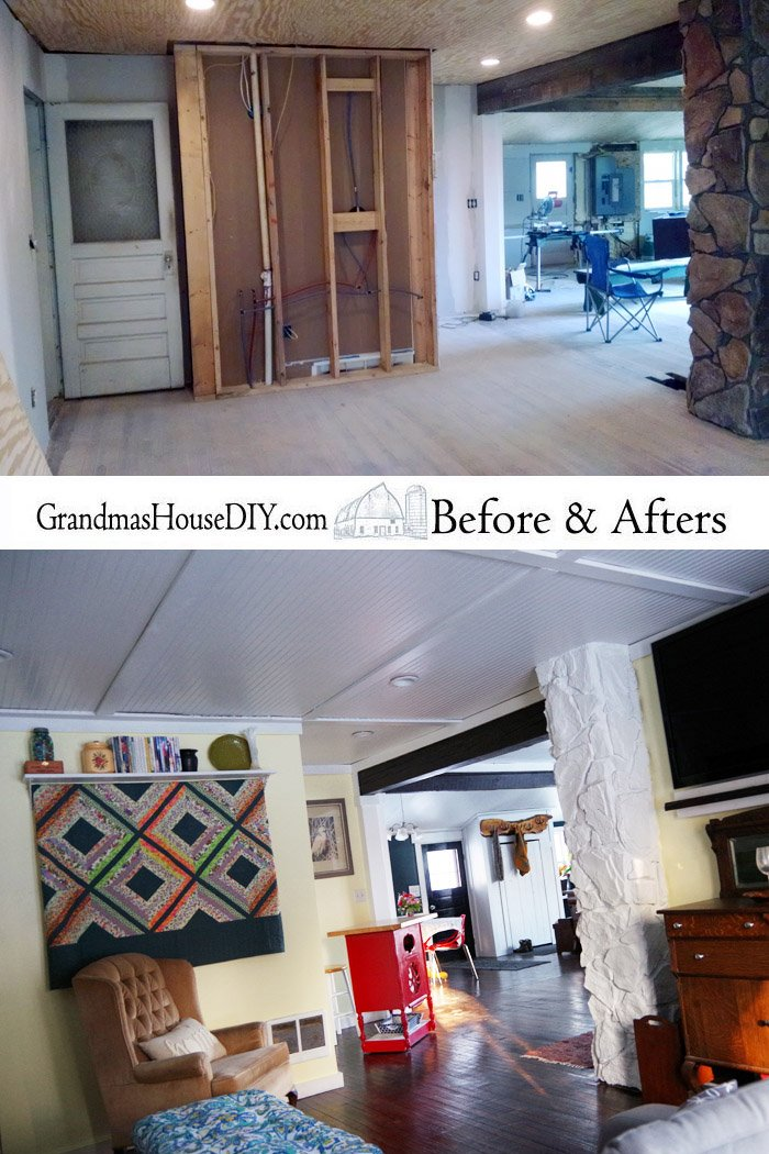 A farmhouse living room remodel renovation reveal. Farm house living with a boho and practical twist, finally completing my Grandma's House