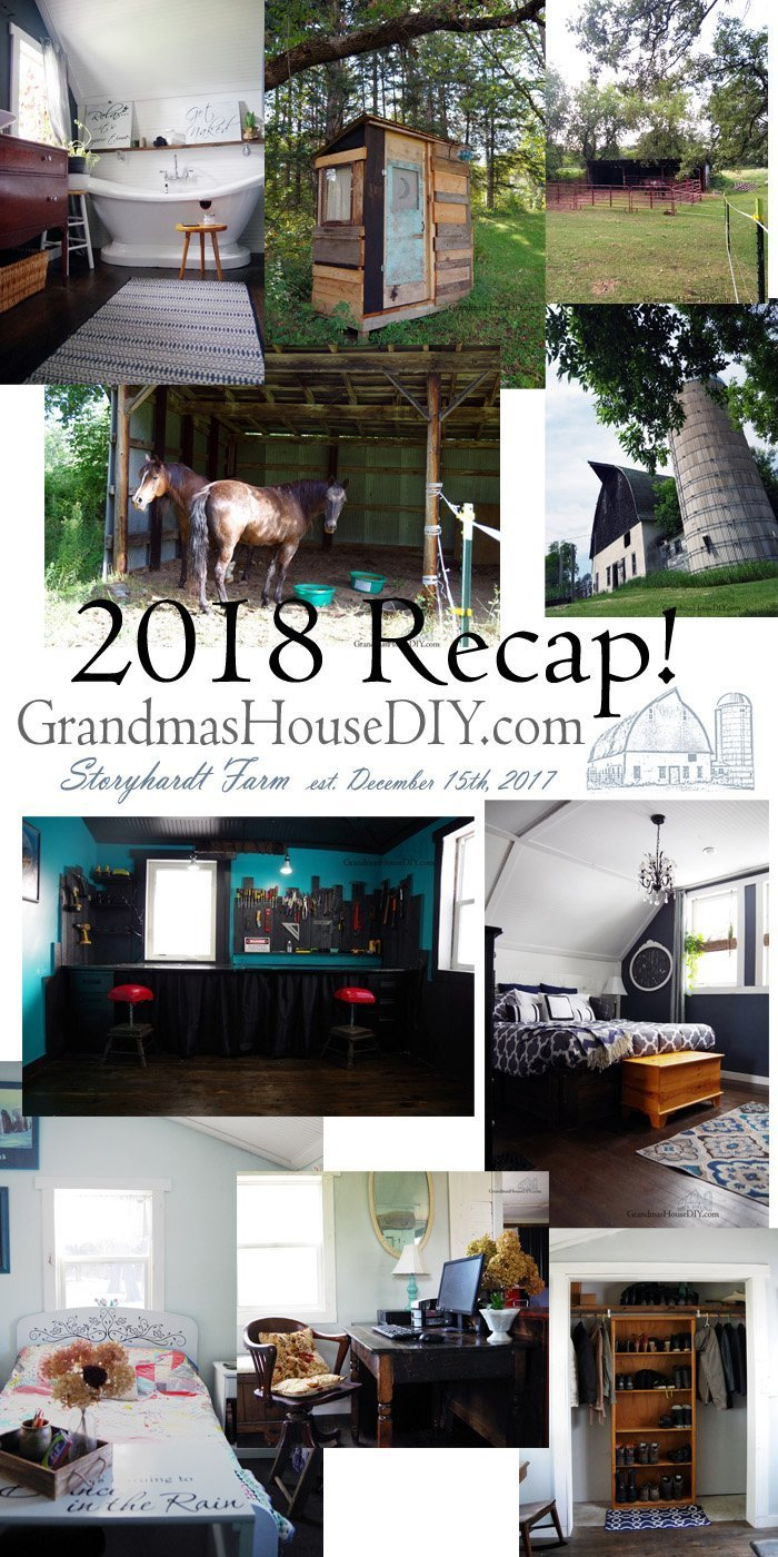 2018 Recap at Grandma's House DIY. Do it yourself yard work, completed rooms, furniture transformations and a new home for my horses!