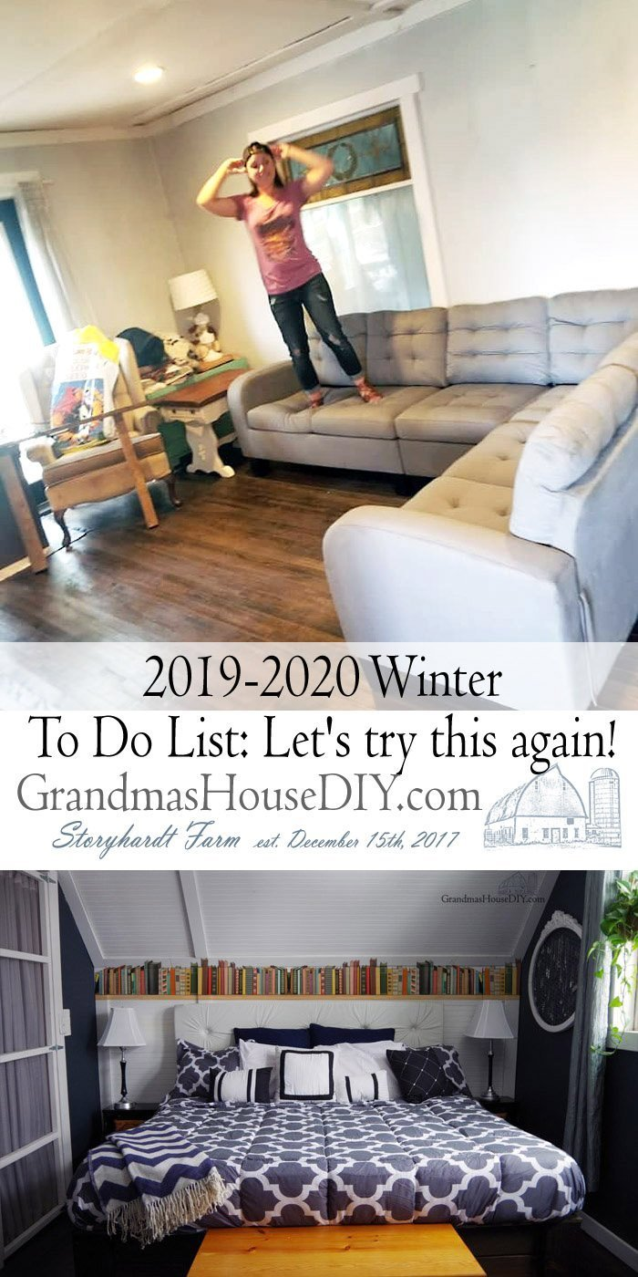 2019-2020 Winter to do list at grandma's house diy, house projects, living room renovation, adding a book shelf above my master bedroom headboard, love book