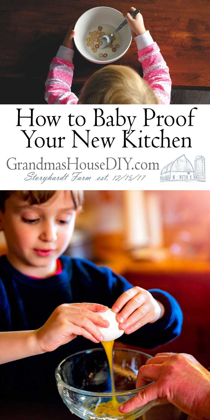 Here are some details on how to best baby proof your new kitchen: Corner guards, moving toxic things to higher cabinets, baby gates, how keep our kids safe