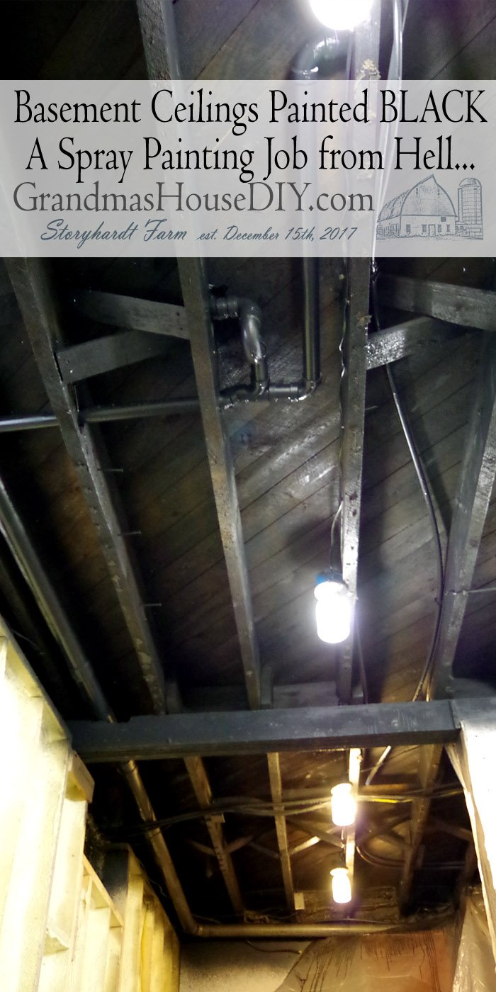 Open industrial basement ceilings spray painted black for a theater and a reck room area in the downstairs baseent ceiling blackspray paint.
