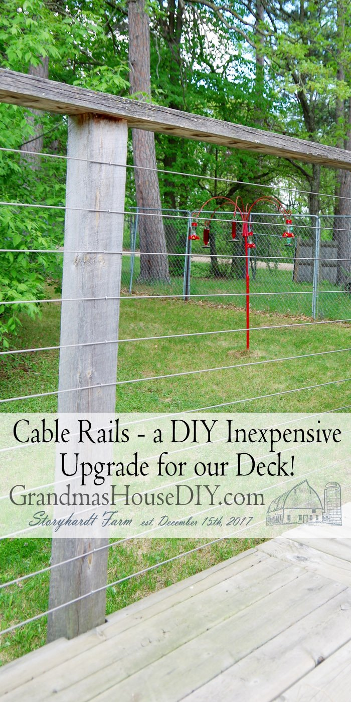 Putting in Wire Cable Rails around our deck. I made these conduit railings several years ago for one BIG reason: I was broke! But we can afford them now!