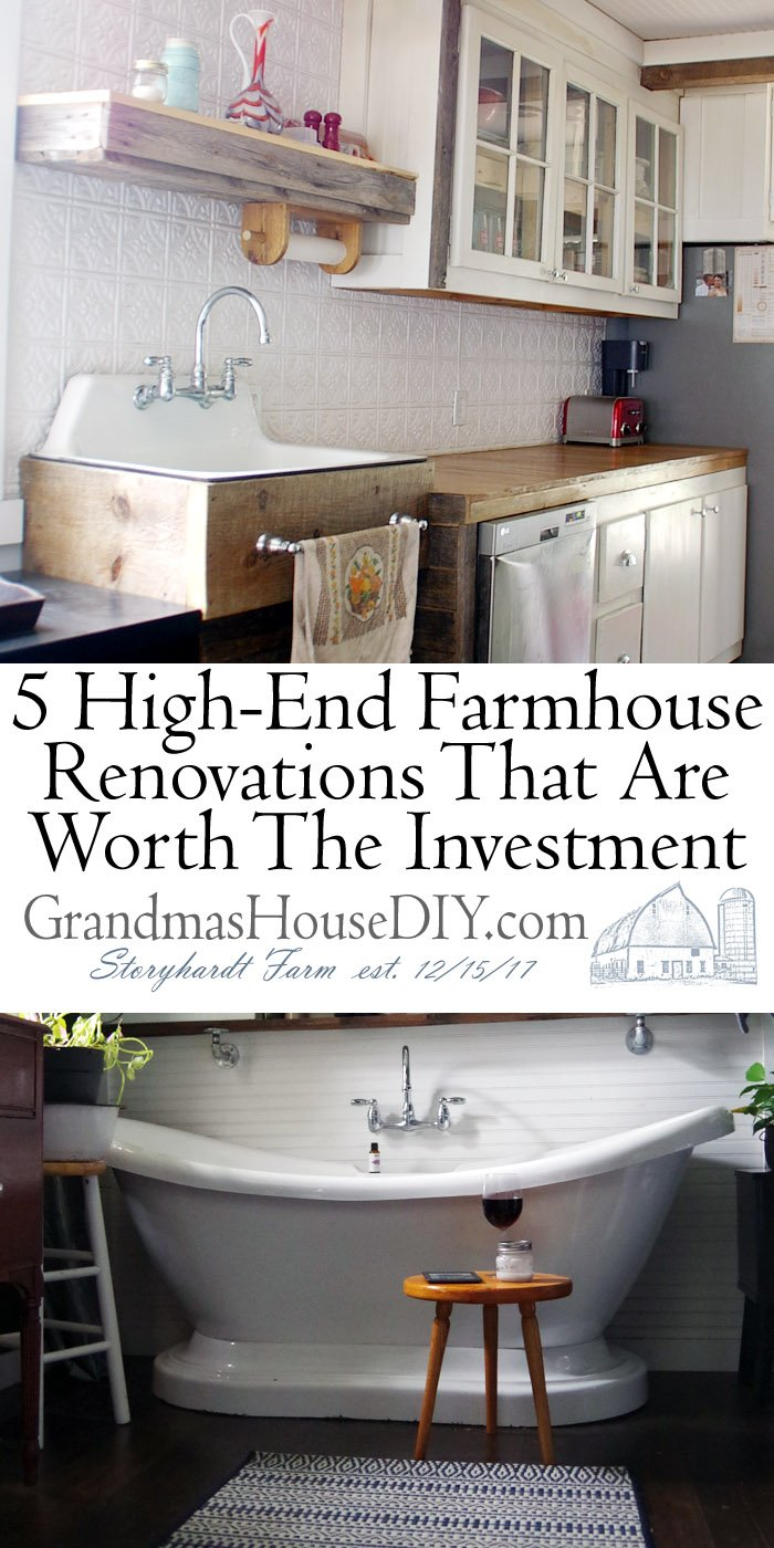 5 High-End Farmhouse Renovations That Are Worth The Investment, hobby farm, barn, another bathroom, crown molding, kitchen renovation, new windows, country