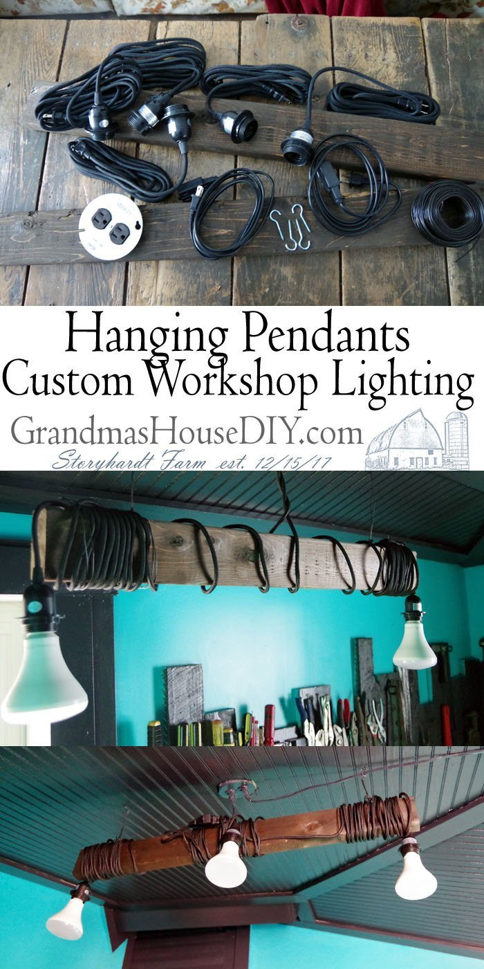 Creating custom workshop lighting DIY with pendants and a hanging 2x4, creating task lighting in my workshop do it yourself with pendant