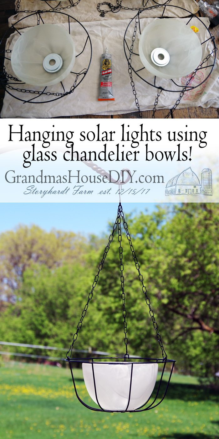 Hanging Solar Lights Using Glass Chandelier Bowls And Dollar
