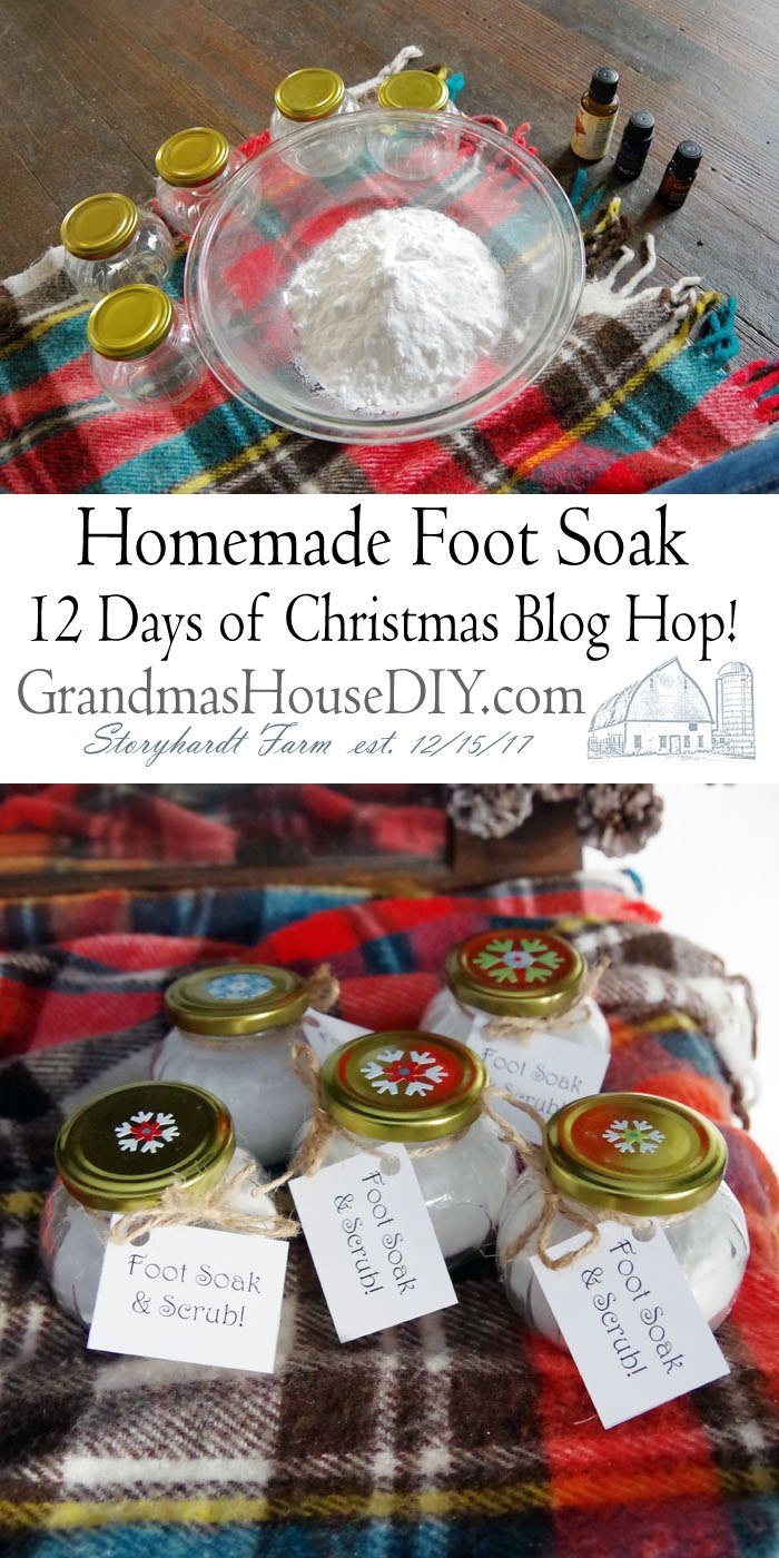 Relaxing Homemade Foot Soak and Scrub. A lovely handmade gift for just about anyone Christmas Blog Home a lovely, simple and easy DIY gift idea.