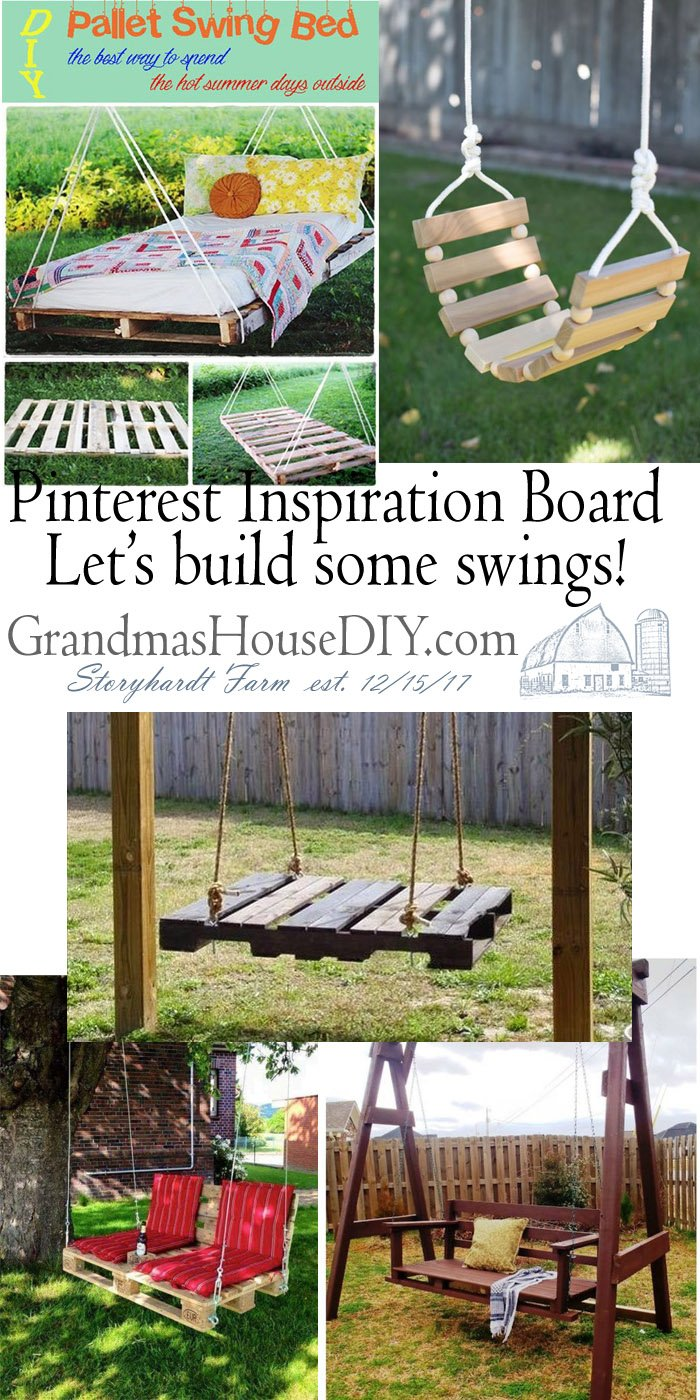 Let's build some swings! Pinterest Do It Yourself Inspiration Board! Wood Working, DIY, Tips and Tutorials, Wood Working, How to, Build your own swings, some out of pallet wood, some from scratch for a fun way to enjoy a spring or summer day in your backyard or on your deck! Swing Away!