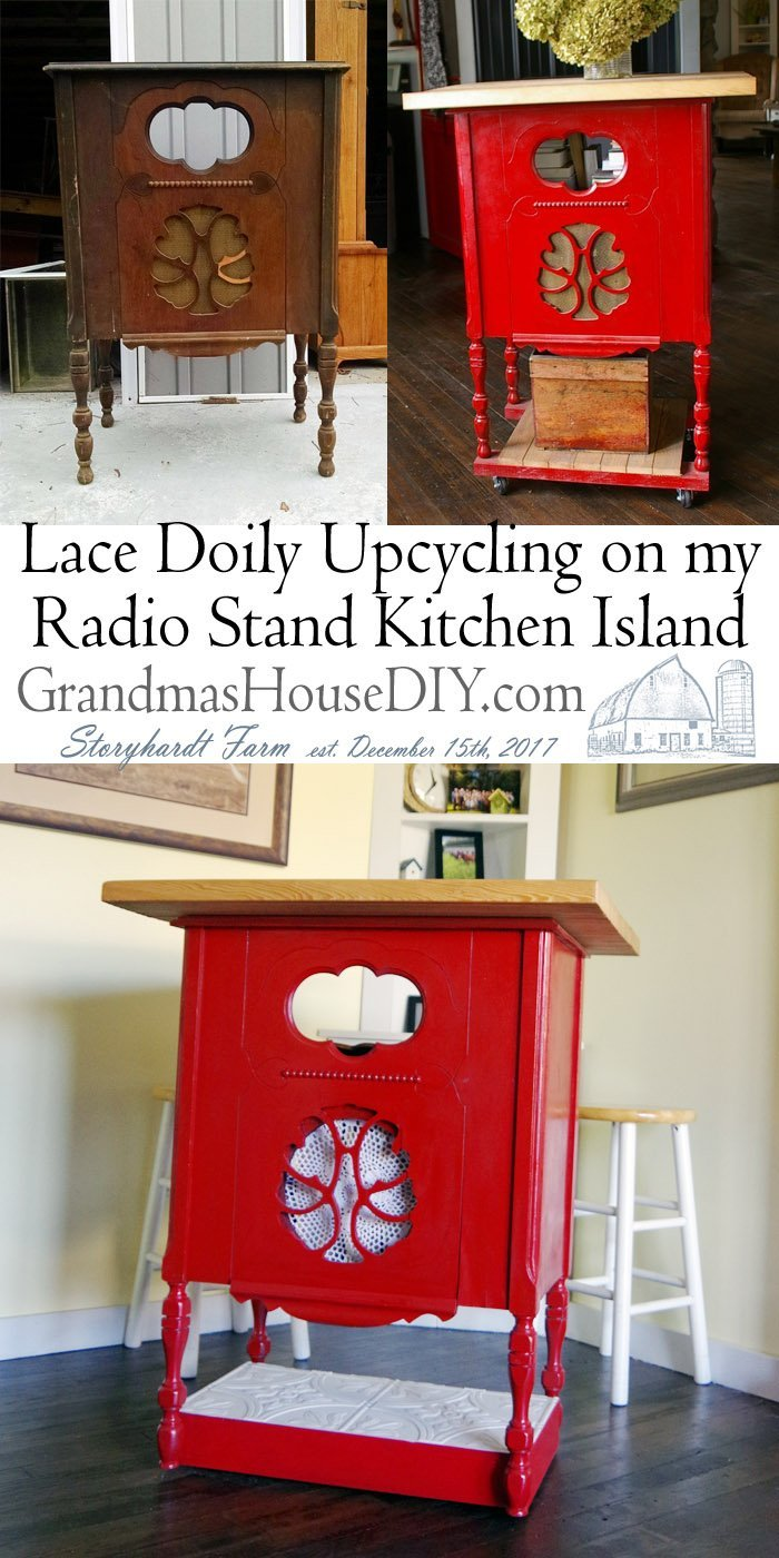 Lace Doily Upcycling on my Radio Stand Red Kitchen Island Replacing the fabric on an old radio stand with a lace doily and staples Antique Upcycle