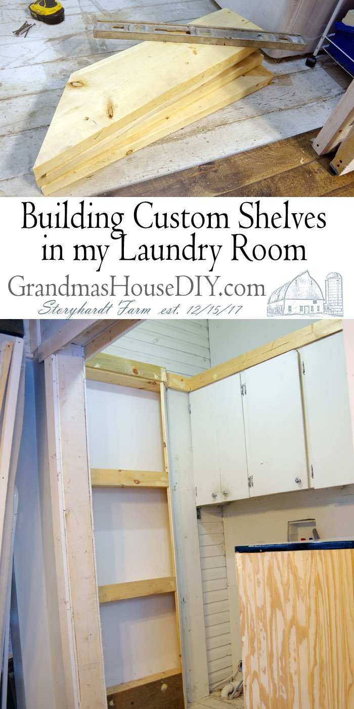 How to build custom shelves in a laundry closet and room with a counter top and new design for the entire room and rolling closet doors
