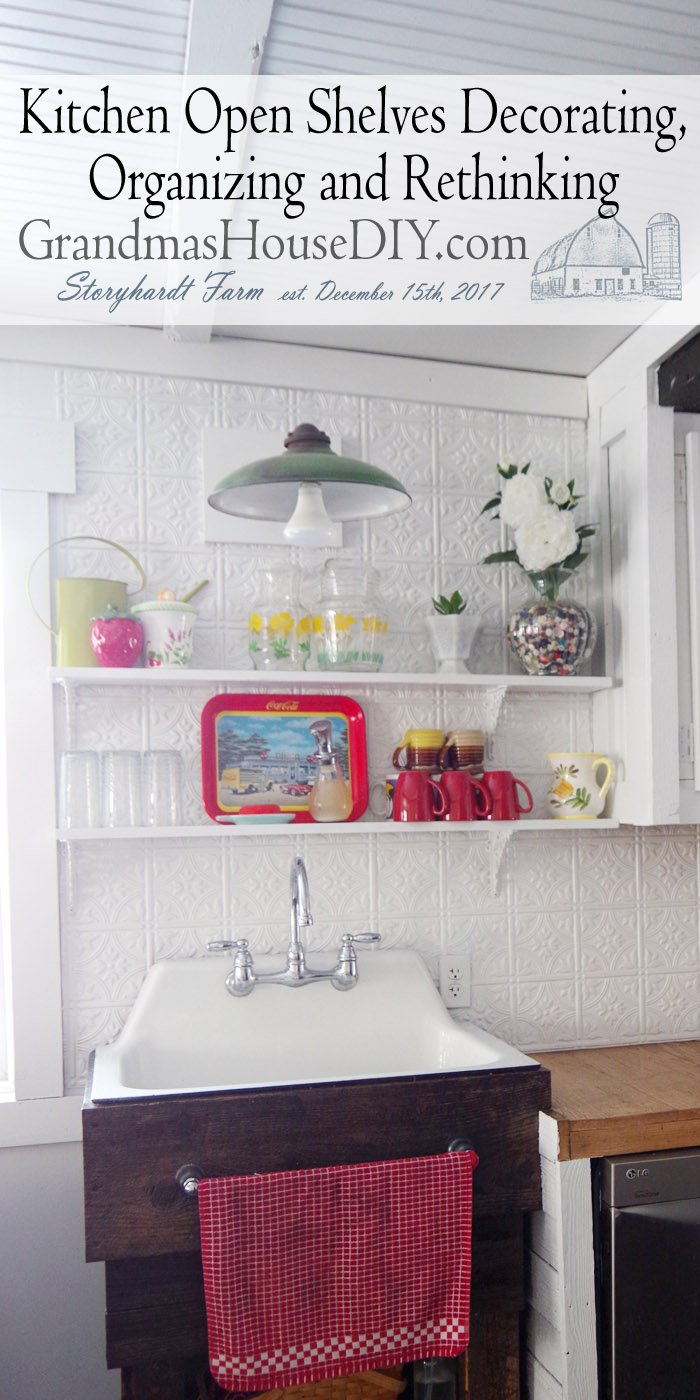 Putting the open shelves above my kitchen sink to practical use without sacrificing the pretty, adding mugs cups and glasses and pretty pitcchers useful