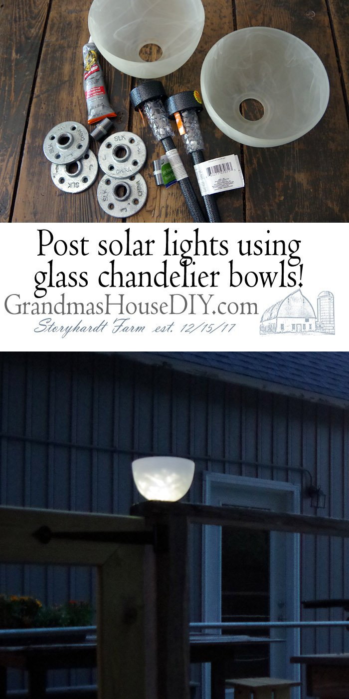 Post solar lights using glass chandelier bowls and dollar store lights! Recycling glass bowl shades from a chandelier and using dollar store solar lights and a floor flange to attach them to the top of a post for light, bird feeders and beautiful outdoor decoration with solar lights.