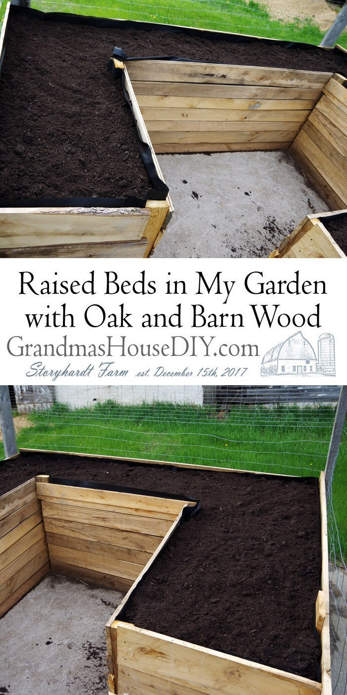Using leftover oak and barn wood to build tall raised beds in my small railroad ties garden that I built two years ago in my yard.
