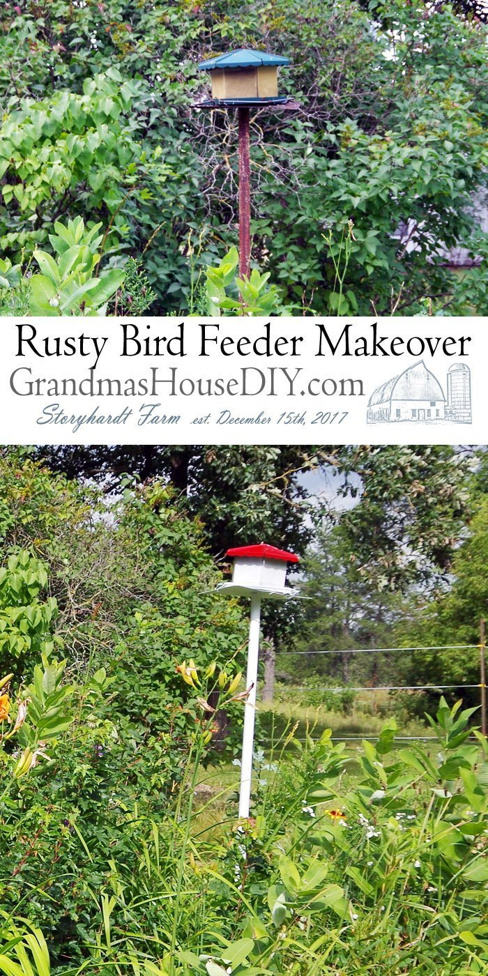 Old Rusty Bird Feeder Given new Life with Paint with a stand alone base gets a new location and a makeover in red and white paint in my flower garden