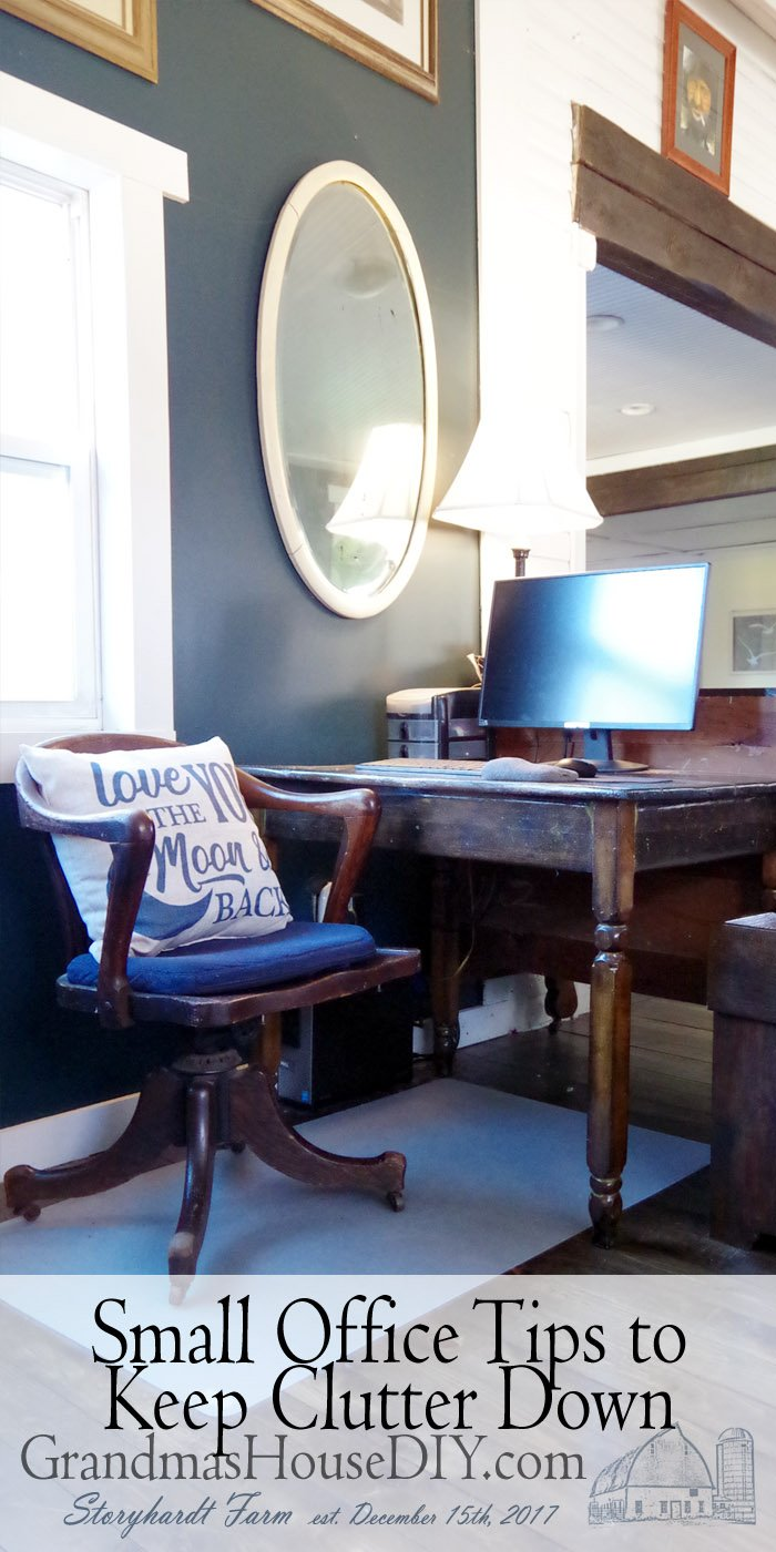 "Small office tips and tricks! I love my ""none"" office even though carving out a space in our mudroom/entryway/dining room was not the easiest!"
