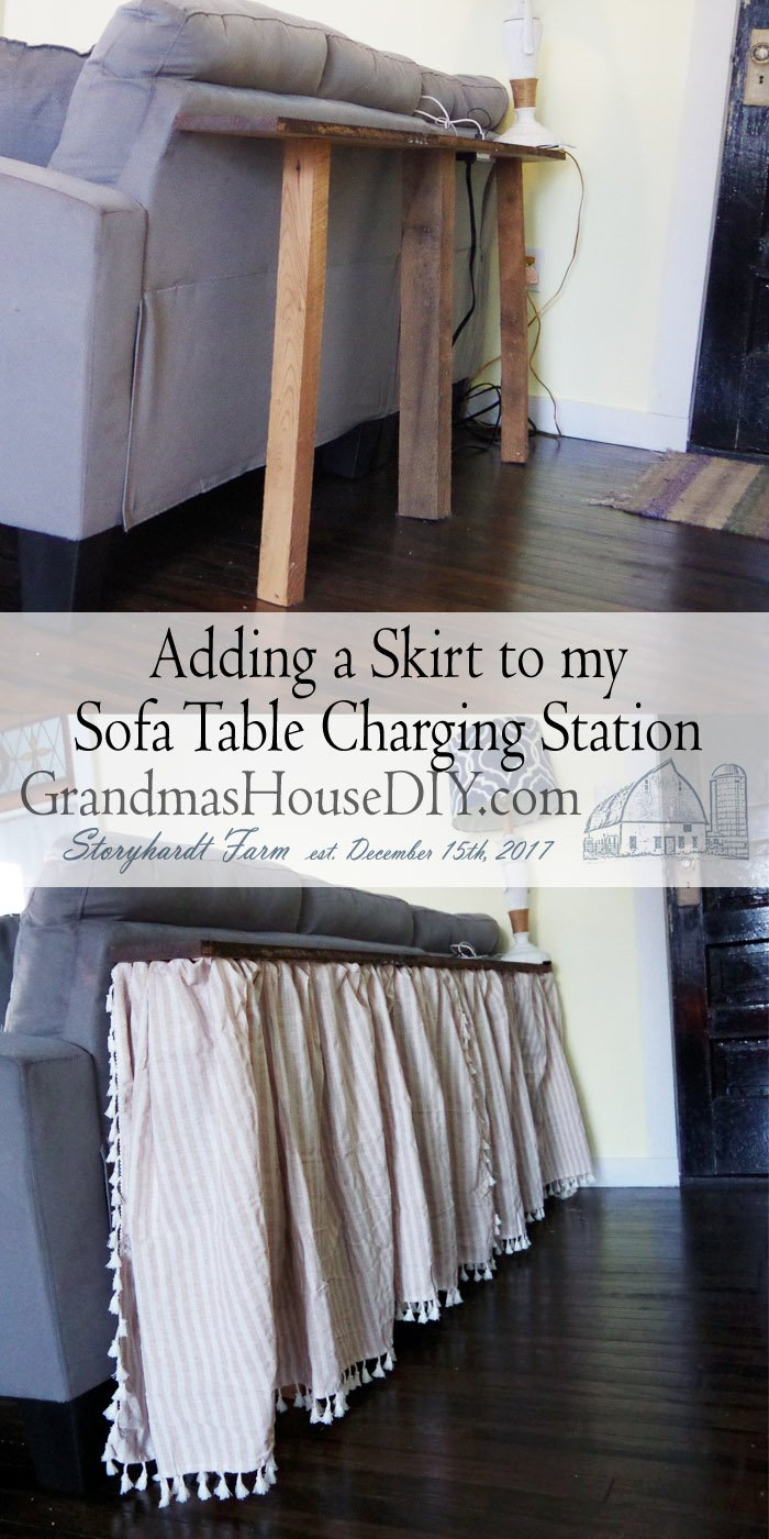Adding a little skirt around my sofa table usb and outlet charging station for the my newly remodeled living room with new paint and a whole new design.