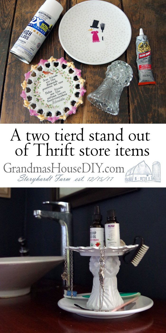 How to make a Two Tiered Stand out of Thrift Store Items. Glue and white spray paint create a beautiful inexpensive cheap easy stand for my master bathroom