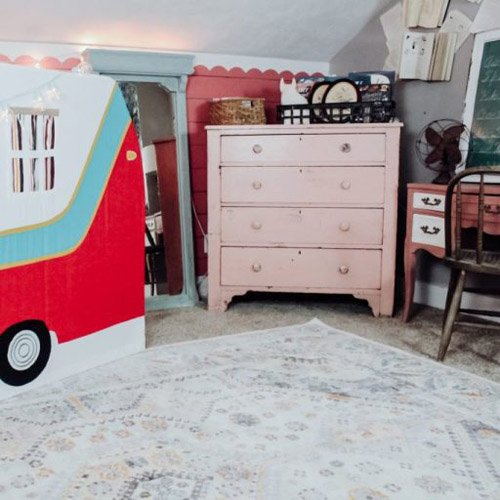 PLAYROOM MAKEOVER: CAMPER PLAYHOUSE + PAINTED SCALLOP WALL
