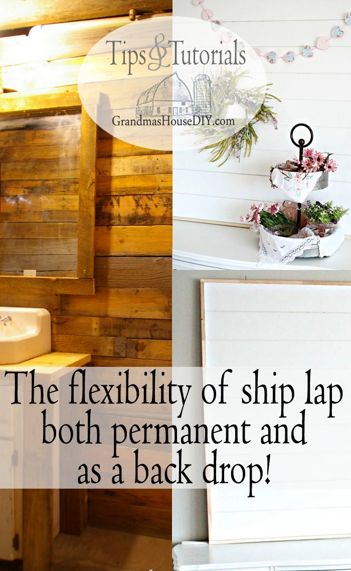 The incredible flexibility of ship lap either as a permanent application or as a back drop ship lap is easy to install and can be used in multiple applications, it can be painted, sealed, stained or left as is. In my farmyard I've run into a lot of old ship lap that I've used extensively throughout my home.