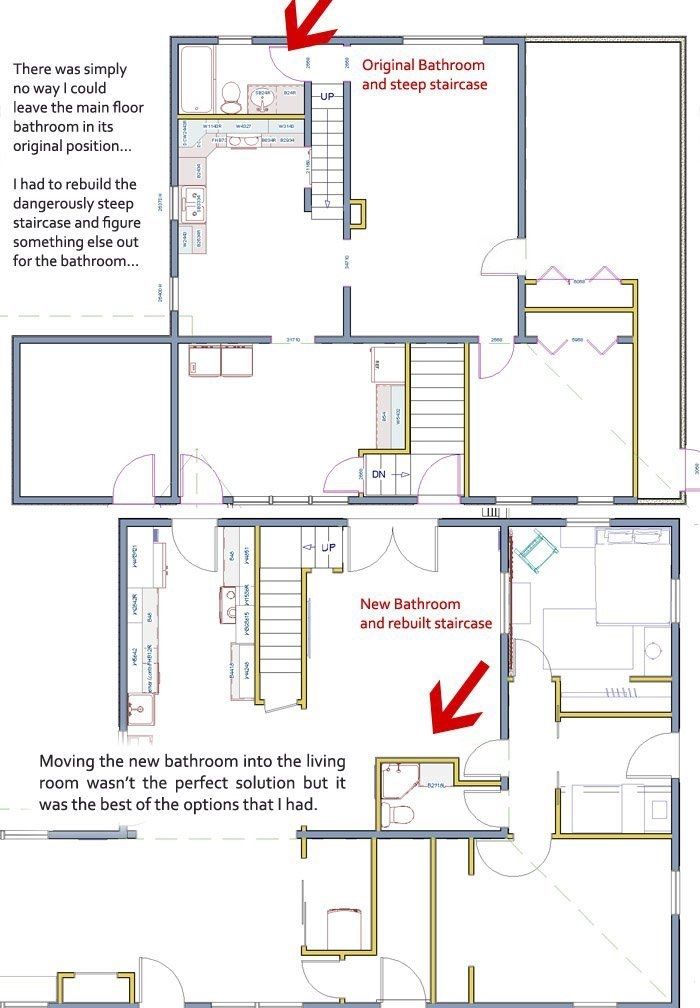 Getting a bath plan together... When I started the renovation here the biggest conundrum I had was what to do about the main floor.