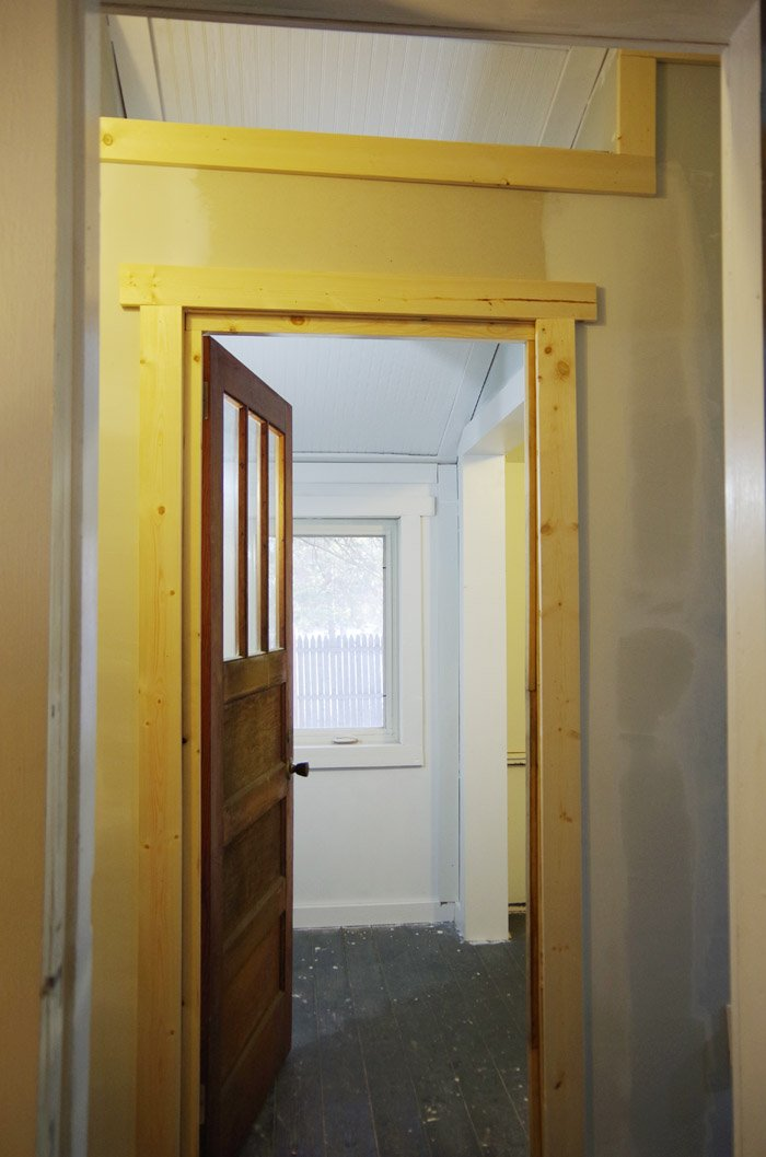 Making a large hallway and closet area into a small room. There were quite a few steps to finally getting to the point of truly enclosing