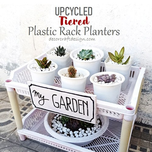 Upcycled Tiered Plastic Rack Planters