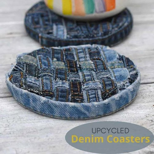 How to Make No-Sew Denim Coasters from Upcycled Jeans