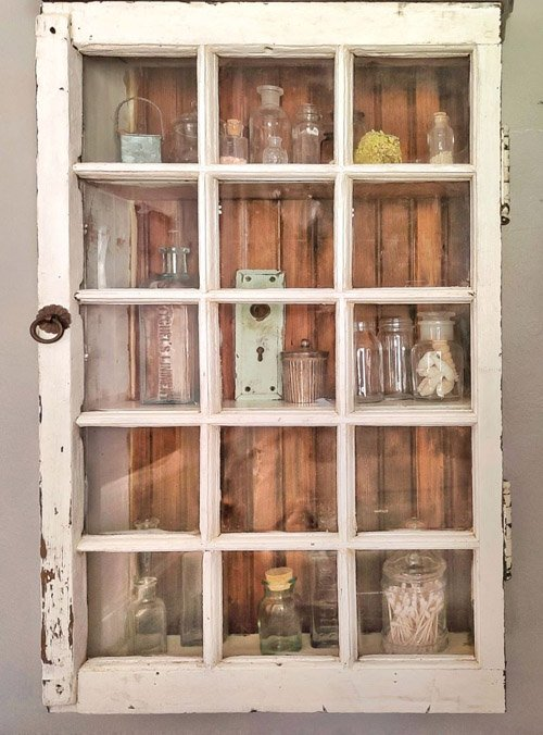 Kim from Shiplap and Shells - How to Repurpose a Vintage Window Into a Cabinet