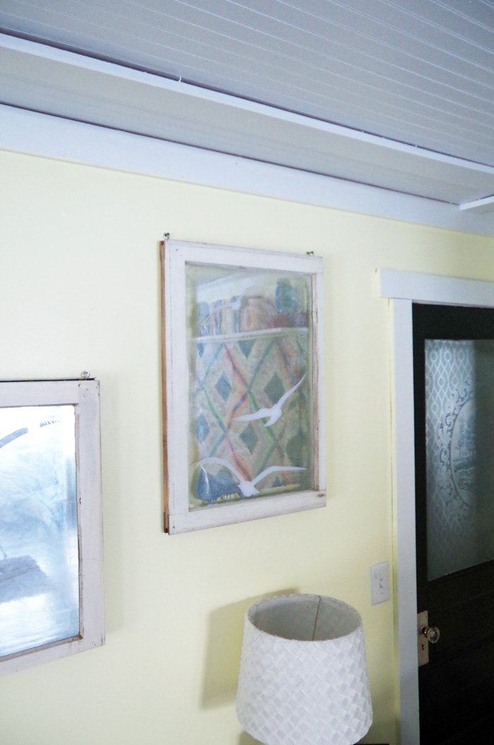 Prints and Old Windows: Farmhouse artwork for my living room! Creating a gallery wall of old windows with chrom spray paint and vinyl decals and prints