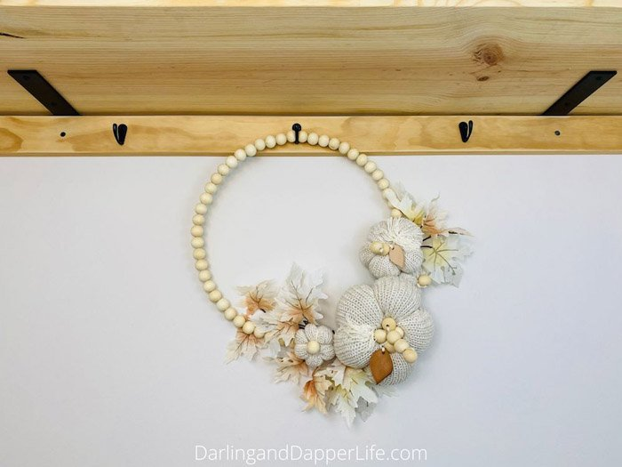 Allison from Darling and Dapper Life - Easy Wooden Bead Wreath with Sweater Pumpkins