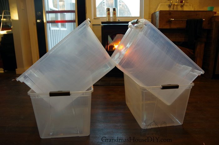 How to spray paint bins to make them look better, more cohesive and pretty for a farmhouse decor workshop organization, tool order and placement